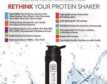 Elite Athlete Pro Glass Shaker, Protein Shaker-Mixer,Supplement,Borosilicate Glass with shaker ball and water bottle-FREE Shipping Aus
