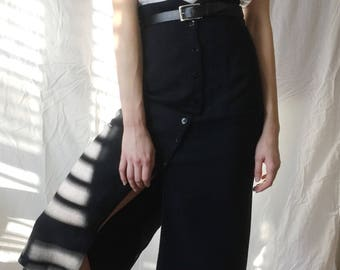 Navy Button Down Maxi Skirt