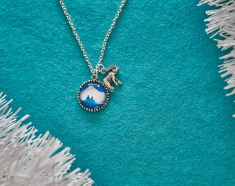 Turquoise Mountain charm - Nature  Necklace - Hiker gift - Mountaineering Pendant
