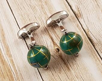 Green Globe Cufflinks