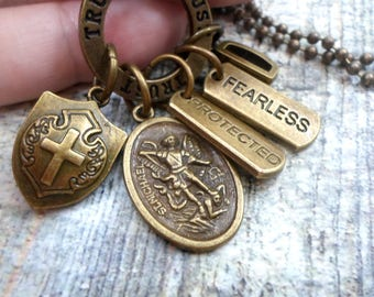 St. Michael Archangel Protection Necklace, Backpack Clip or Keychain, Confirmation Gift, Protected, Fearless, Boys, Teens, Men, Unisex