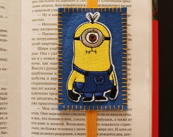 Handmade felt bookmark with elastic and Minion applique, bookmark for kids/ students