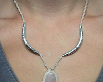 Rose Quartz necklace / Macrame
