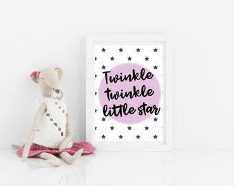 Nursery print, art print, art for new baby, girls wall art, Twinkle Twinkle Little Star, girls print, nursery print, scandi bedroom art