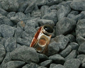Copper and Sterling silver ring with Onyx