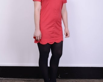 Cute collared vintage shift dress/tunic red