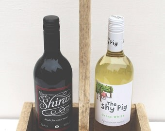 Reclaimed wood wine carrier