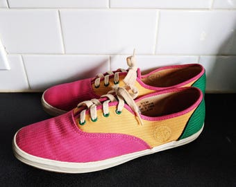 Colorful Vintage Keds, Bright Vintage Sneakers, Vintage Tennis Shoes, Canvas Shoes