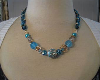 stitched blue & gold necklace 21 in.