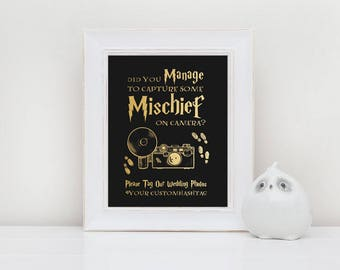Gold and Black Printable Custom Photo Hashtag Sign for Harry Potter Wedding