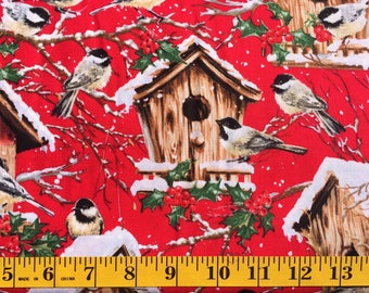 Timeless Treasures Dona 4262 Birds and Houses on Red Cotton Fabric By the Yard