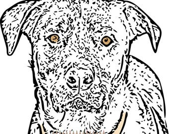 Adult Coloring Pages Dog Art Print Printable For Adults Rottweiler