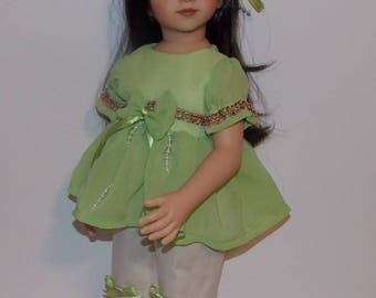 "Sweetpea - Lined Sheer Green Top, Capri Pants, Hair Barrette. Handmade Clothes will fit dolls the size of the 20"" tall Maru & Friends Dolls."