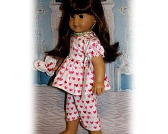 "American Girl Doll not included. 3 Pc. Set Valentine Heart Pajamas & Little Heart Pillow for 18"" dolls. Clothes and Pillow only."