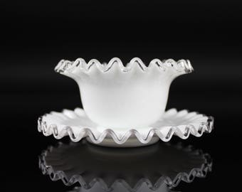 Beautiful Fenton Silver Crest Dish and Plate