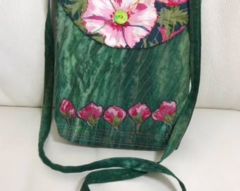 Hand-dyed green cotton shoulder bag