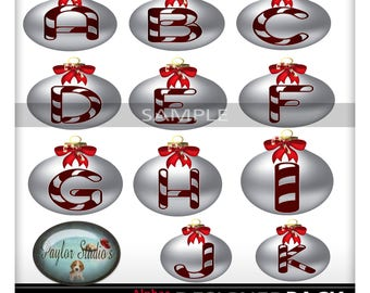 Christmas ornament Monogram Digital Scrapbook Alphabet Clip Art