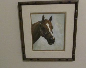 Framed Oil Painting, Horse.