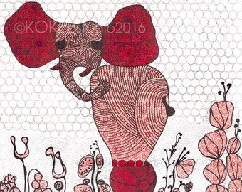 Elephant - watercolor painting  -8x10 digital print for nursery decor by Net Tesfay