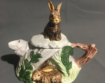 Vintage Ceramic Decorative Tea Pot with Brown Rabbit Bunny Design 1992