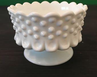 Vintage Hobnail Milk Glass Compote