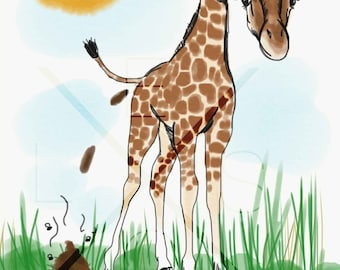 Giraffe Illustration -  Poo Collection (Home Decor, Wall Art, Africa, Animals, Poop, Illustration, Instant Decor, DIY Art, Handmade)
