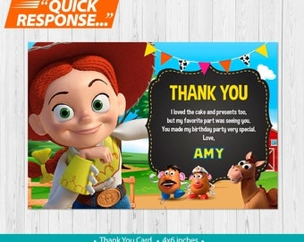 Jessie Toy Story Thank You Card PRINTABLE, Toy Story Birthday Thank You Card, Toy Story Birthday Party, Girl Toy Story Party, vC