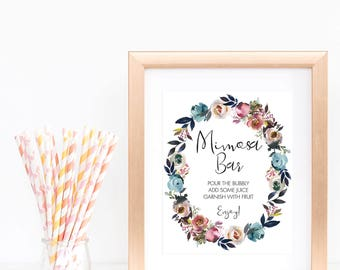 Sign Mimosa Bar Printable Sign Floral Wreath Baby Shower Decorations Garden Bridal Shower Signage Mimosa Baby Shower Instant Downloads LF1