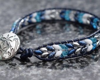 Single leather beaded wrap bracelet