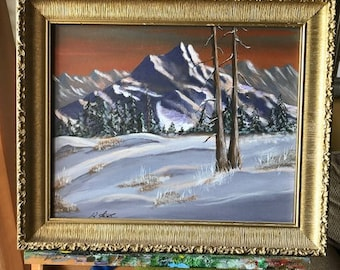Mountain Winter in High Country Acrylic Painting, Landscape Nature