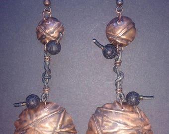 Long copper form-folded earrings