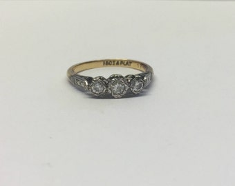 18ct Gold Trilogy Ring With Diamonds In A Platinum Setting