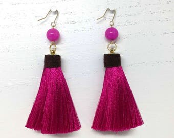 Wrapped Silk Tassels with Jade Beads. Handmade in the USA
