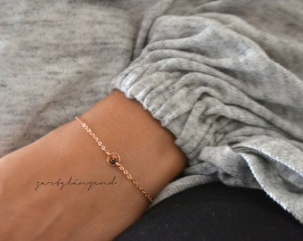 """Rose Gold filled bracelet with round plate """"XS"""""""