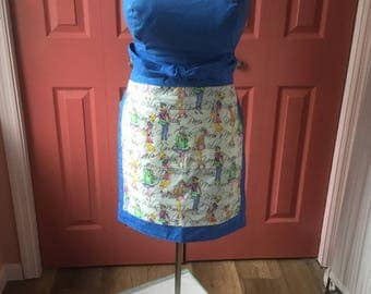 Milan Printed Blue and White Cafe Apron