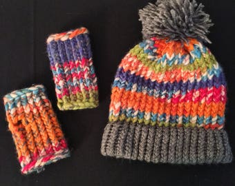 Multi-Color Knit Hat and Glove Set