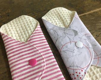 SET OF 2, Cloth Panty Liner, Cloth Menstrual Pad, Mama Cloth, Reusable Cloth Pad, Reusable Cloth Napkin,  Moon Pad/ Cloth Menstrual Napkin