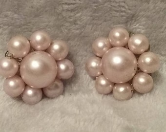 Vintage Light Pink Beaded Earrings Clip On