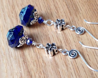 Blue Glass and Crystal Beads Earrings - Fire-Polished Glass Beads