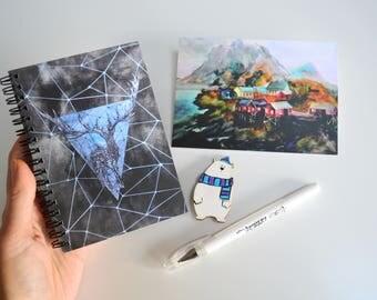 Gift set for her white bear journal diary print postcard christmas set of 4 sketchbook notebook pin on coat deer ornament iceland art