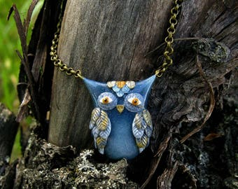 Night Owl Necklace - Woodland Necklace - Forest Owl Pendant - Magic Owl Gift - Blue Owl Necklace - Unique Owl Gift - Blue Forest Necklace