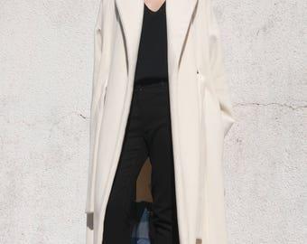 The Fold Coat . White Wool Coat . Oversize Coat