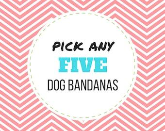 PICK ANY 5 Dog Bandanas (Choose from over 175 fabrics), pet bandana, pet accessory, dog bandanas, dog collar bandana