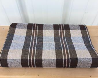 Wool vintage fabric brown plaid