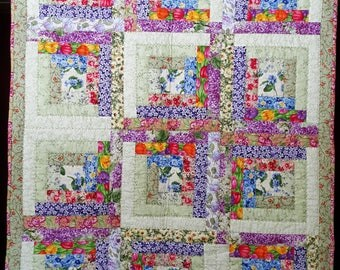 Quilted Flower basket Log Cabin Wall hanging
