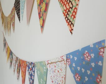 Floral Bunting Party Garland /// Paper Craft Supplies, Floral Stationery, Tea Birthday Party Flags Garlands Decorations, Jute Twine