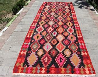 5x13.6 Hot Color Turkish Rug, Handmade Kilim Rug, Vintage kilim