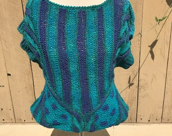 Vintage hand painted knit blouse