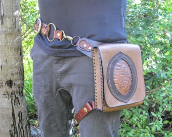 Gator Convertible Hip Shoulder Bag - Upcycled- Leather Festival Pouch - Pocket Holster