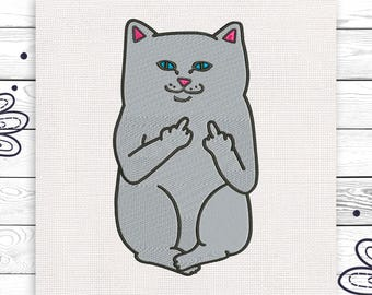 Brutal cat Finger Discount 10% Embroidery design Digital pattern 4 sizes INSTANT DOWNLOAD EE5023